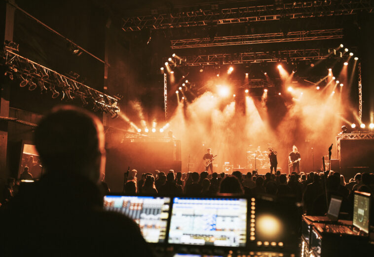 Sound engineer in a live concert